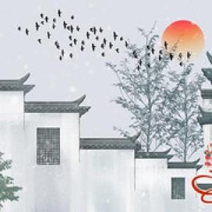 中国古风建筑徽派水墨山水手绘PSD模板平面设计素材手机电脑壁纸