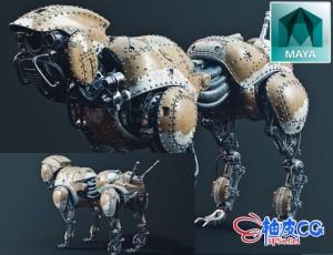 MAYA科幻机器狗硬表面建模材质纹理全流程高手制作视频教程