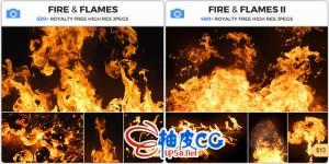 高清纯黑背景火焰 / 火苗 / 火舌平面设计图片素材集