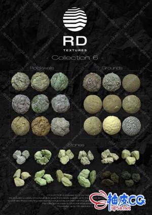 C4D AR / OC / VRay岩石地面沙子砾石土壤石头16K超高清无缝贴图 + 3D模型