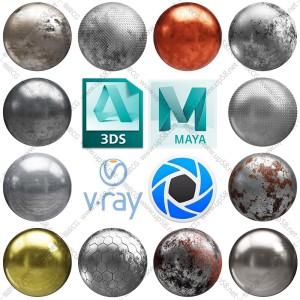 3dmax C4D KeyShot Maya VRay OC金属3D材质4K高清无缝贴图素材库