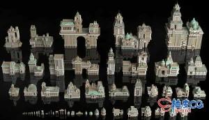 3DSMAX / Maya / C4D / Blender / Houdini / Unity新古典幻想城市建筑3D模型