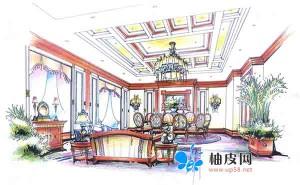 32套家装和酒店装修手绘效果图合辑