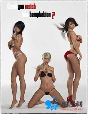 各种诱惑姿态的性感女性角色DAZ 3D模型