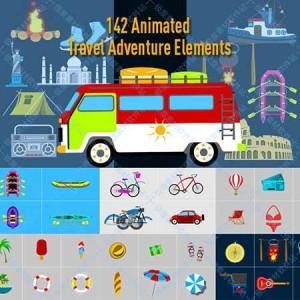 AE模板 MG动画视频设计制作 旅游交通海滩露营滑雪潜水素材库