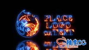 AE模板 酷炫能量电流光线描边效果标志logo展示 Energy Logo