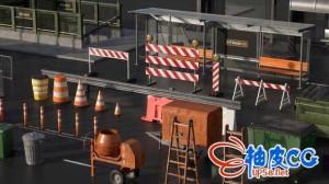 C4D/E3D模型包城市街边设施街边围栏/地铁入口/灯柱/公路隔板集合