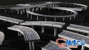 C4D/E3D模型包立交桥/高速公路标志/广告牌和交通标志
