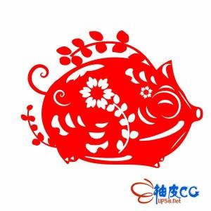 中国传统十二生肖2019猪年窗花剪纸矢量AI格式
