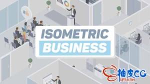 AE模板 公司员工MG扁平化卡通动画视频 Business Isometric