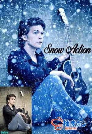 Photoshop动作 冷色调下雪场景特效生成