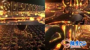 AE模板 光感质感强烈的logo标识展示片头 Particles Gold Logo