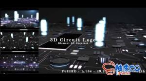 AE模板 高科技感3D电路光效标识logo展示 3d circuit intro