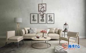 极简黑白灰色调沙发客厅3D单体模型