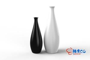 欧式黑白创意花瓶3D模型