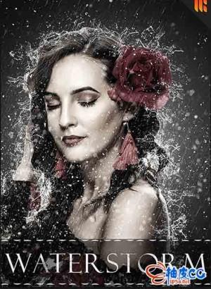 PS制作落雨雨水四处飞溅艺术特效Photoshop动作+视频教程