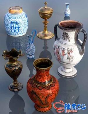 DAZ 3D模型 7个逼真的装饰花瓶