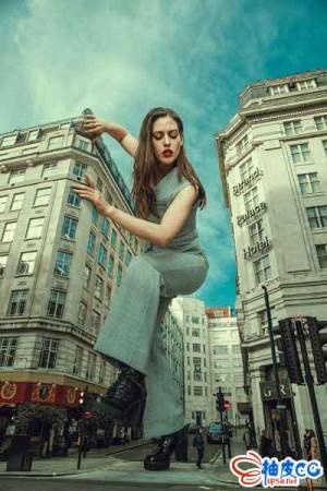 PS人物和建筑实景合成巨人特效Photoshop视频教程