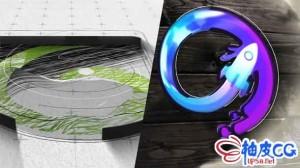 AE模板 抽象绘画公司徽标标识LOGO揭示Abstract Drawing Logo Reveal