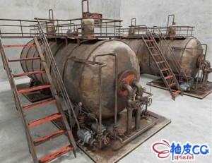 3DSMAX工业蒸汽锅炉的三维模型