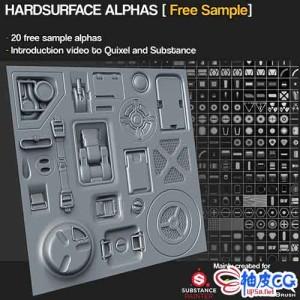 ZBrush硬表面建模笔刷集Hardsurface Alpha Maps