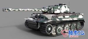 C4D / 3DSMAX / MAYA / Keyshot二战ww2虎式坦克3D模型