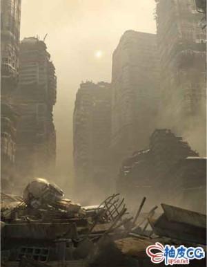 战争破坏高楼建筑碎石废墟3D模型