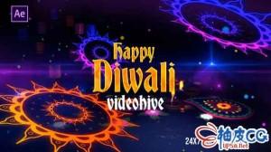 AE模板 印度宝莱坞传统排灯节庆祝3D介绍 Diwali Celebration Intro