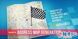 AE模板 旅行地图地理位置3D标记 map