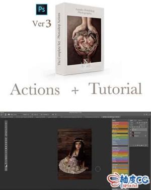 PS人物照片艺术润色修饰Photoshop动作集 + 视频教程