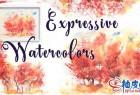 手绘水彩风格秋天森林树木视频教程