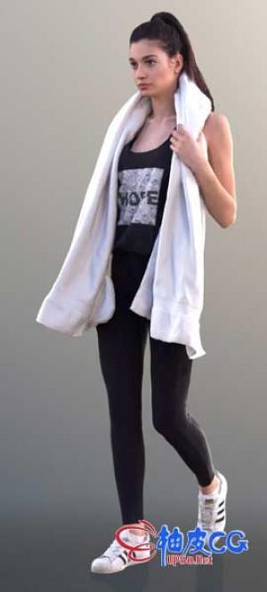 3DSMAX / C4D / VRay带毛巾欧洲女性角色全身扫描3D模型