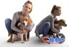 3DSMAX欧洲女性角色遛狗扫描3D模型