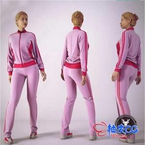 3DSMAX / OBJ穿运动装女性角色全身扫描3D模型