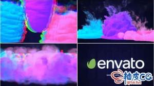 AE模板 数字信号损坏烟雾标识LOGO揭示视频 Glitch Smoke Logo Reveal