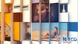 AE模板 时尚照片画廊3D立方体拼接幻灯演示 Photo Gallery