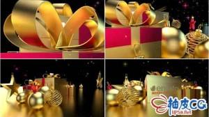 AE模板 豪华贵重圣诞节礼物标识LOGO展示视频 Christmas Logo Reveal