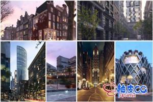 3DSMAX / VRay现代城市建筑街区场景精细3D模型