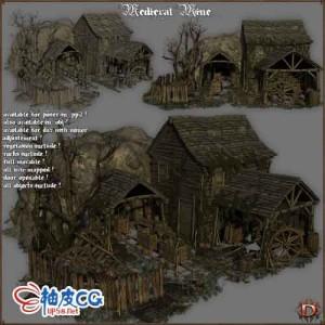 游戏欧洲中世纪破败草屋3D模型