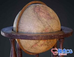 3DSMAX古董桌面地球仪3D模型