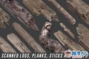 3DSMAX游戏扫描原木木板木棍树状3D模型