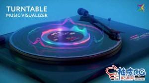 AE模板 酷炫霓虹音乐可视化波形3D转盘Turntable Music Visualizer
