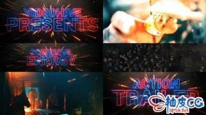 AE模板 黑色动作电影霓虹灯创意标题预告片 Cinematic Neon Trailer Teaser