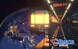 C4D Redshift创建太空列车三维场景效果视频教程