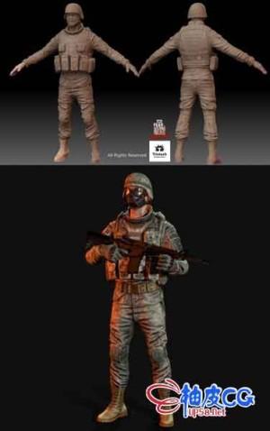 3DSMAX现代国际军人3D模型