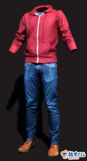 C4D牛仔裤休闲上衣皮鞋男装骨骼绑定3D模型