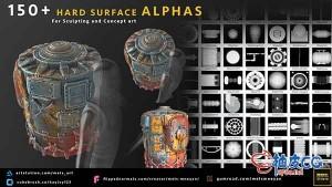 150+三维模型硬表面凸凹高度贴图素材 Artstation – 150+ Hard Surface Prop Alphas