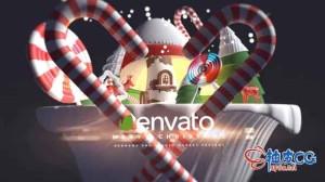 AE模板 圣诞节庆典问候卡通3D标识LOGO介绍 3d Cartoon Christmas Logo