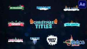 AE模板 圣诞节风格动画文字标题 Christmas Titles