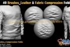 40组Zbrush皮革织物面料褶皱雕刻笔刷